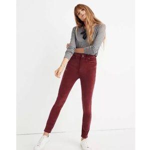 Madewell 10in High-Rise Skinny Velvet Pants 28P